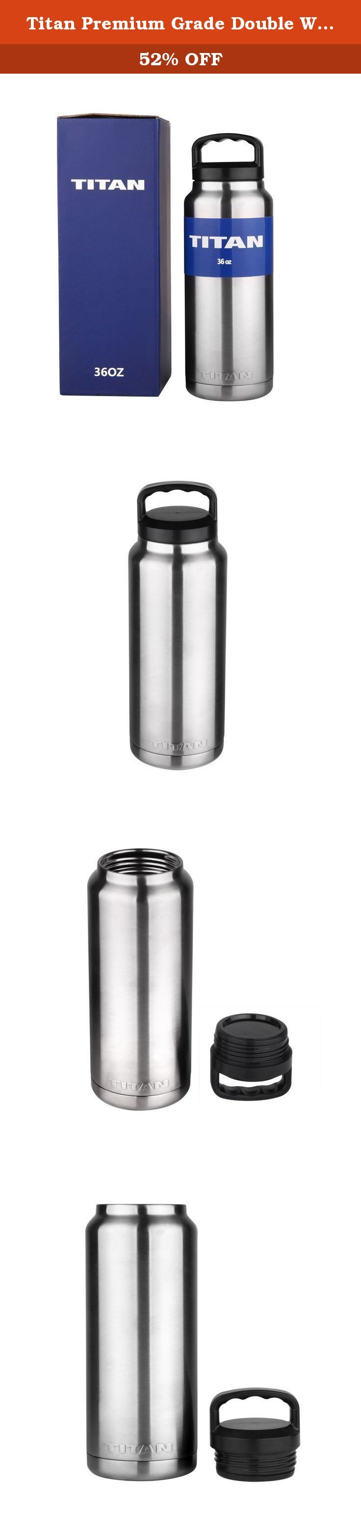 Titan Premium Grade Double Walled Vacuum Insulated Stainless Steel Bottle - Keeps COLD and HOT - Compare to Yeti and RTIC (36 oz). TITAN UP! The Titan is the industry standard of stainless steel drinkware. Made with quality craftsmanship of premium kitchen grade double walled vacuum sealed 18/8 stainless steel, the Titan is designed for maximum efficiency of ice retention, allowing beverages to remain cold and hot longer than other bottles. The Titan leaves absolutely no condensation so…