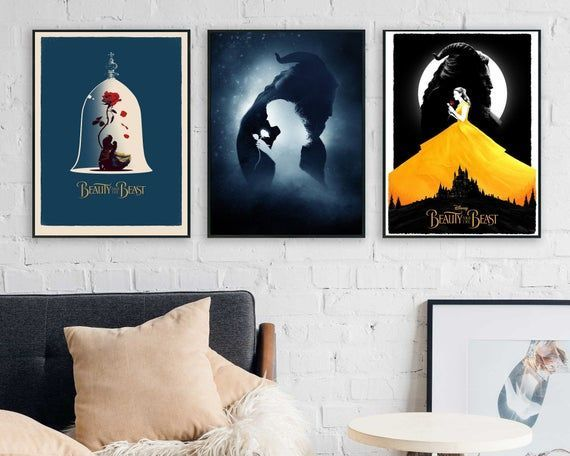 Beauty And The Beast Poster Set Movie Poster Art Home Decor Bedroom Poster Wall Art Film Print Classic Movie Disn Poster Art Poster Wall Art Movie Poster Art