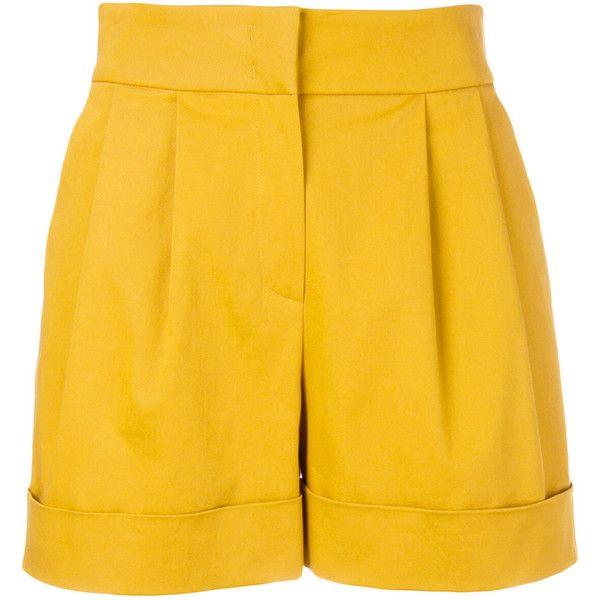 Alberta Ferretti high-waisted wide shorts ($495) ❤ liked on Polyvore featuring shorts, high-waisted shorts, mustard shorts, highwaist shorts, high rise shorts and high-rise shorts