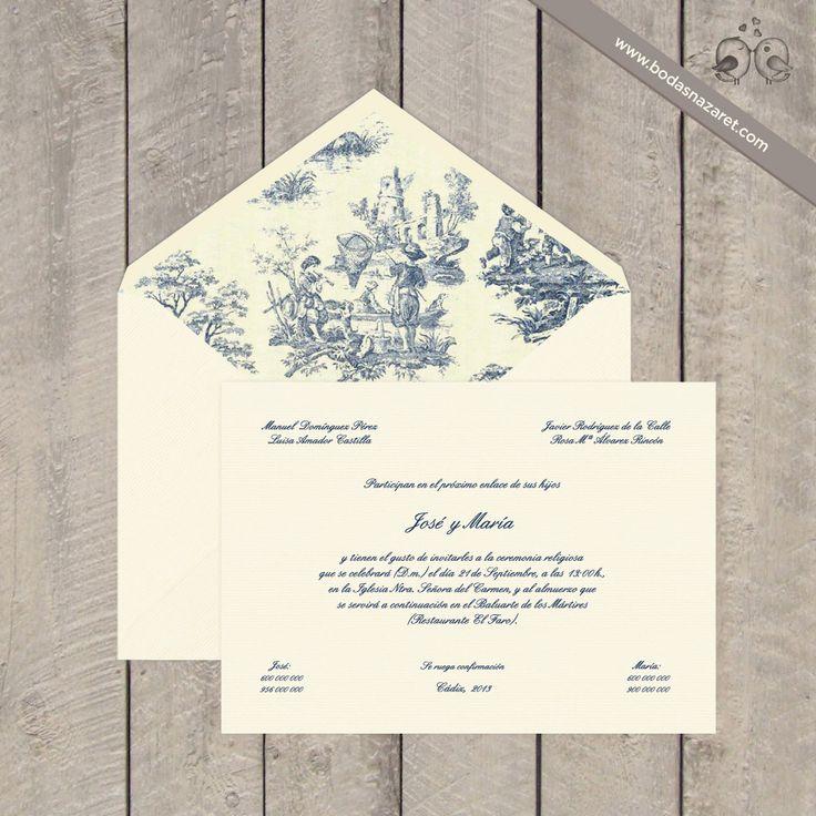 #vintage #chic #clásicas Sobres crema verjurado de 135 grs, forrado diseño Toile de Jouy. Enviamos a toda España. www.bodasnazaret.com