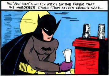 An iconic image of Batman from his first appearance in 1939's Detective Comics #27.  You gotta love the purple gloves, not to mention the hyphen and quotation marks.