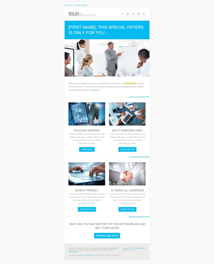 clean blue emailing / newsletter design  (multiple layout, replace layout number in url)