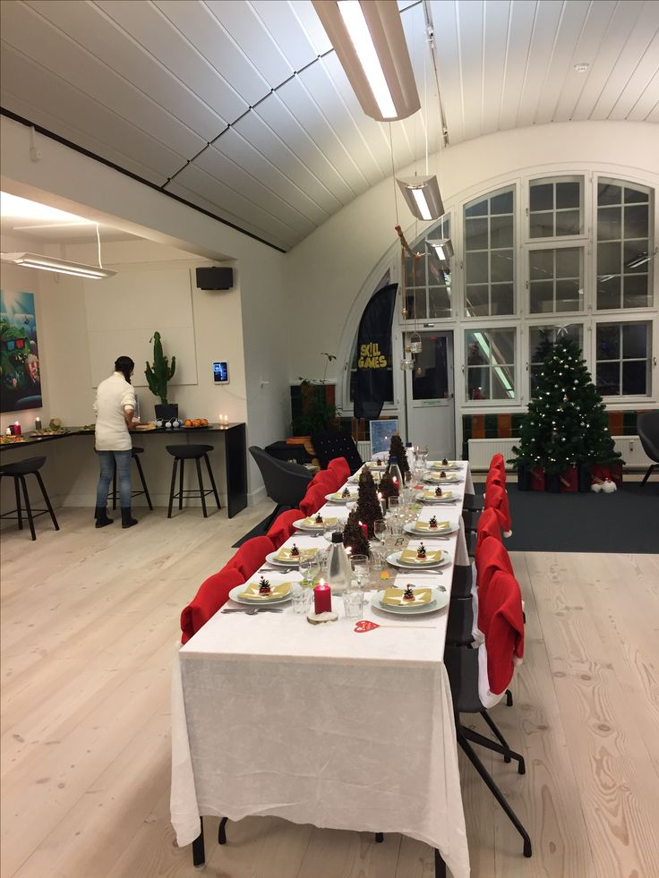 Table decorations for Christmas parties. Remember you can order great and cheap decorations on ebay. As for example hats for the chairs.