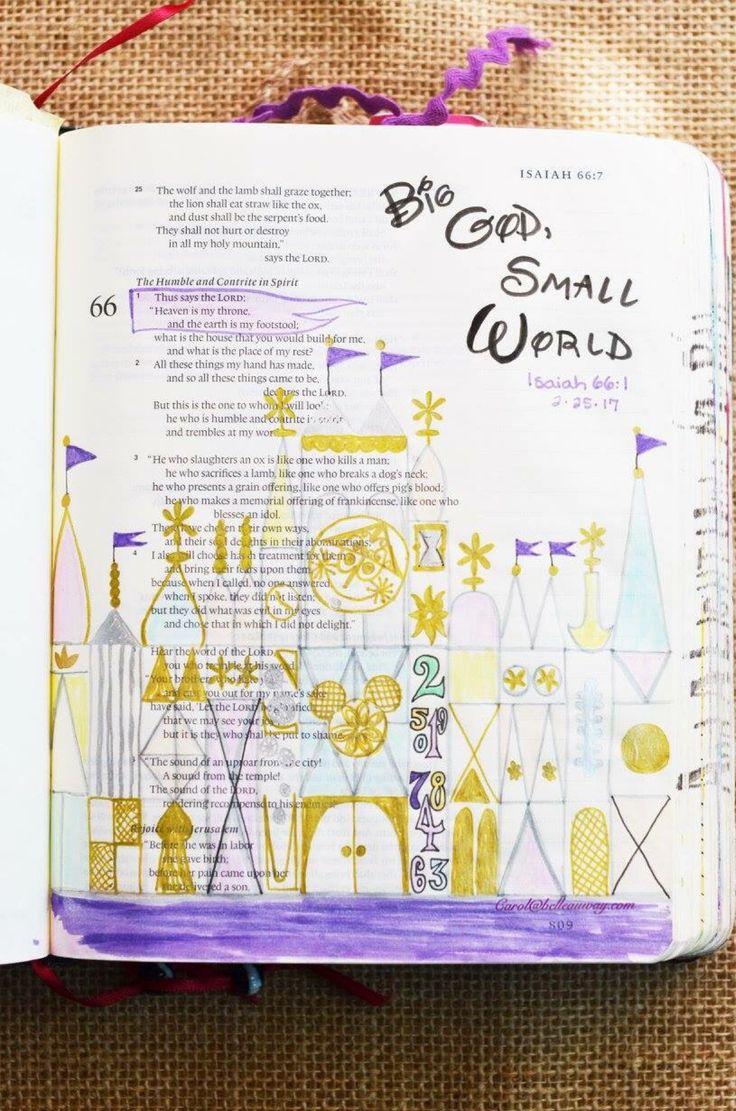 Isaiah 66:1, February 25, 2017, carol@belleauway.com, watercolor, Faber Castell Pitt artist brush pen, gold Uniball Signo gel pen, Illustrated Faith pen, Disneyland, bible art journaling, bible journaling, illustrated faith
