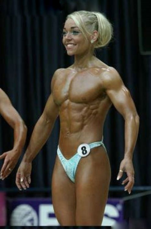 Has Female bodybuilder big tits