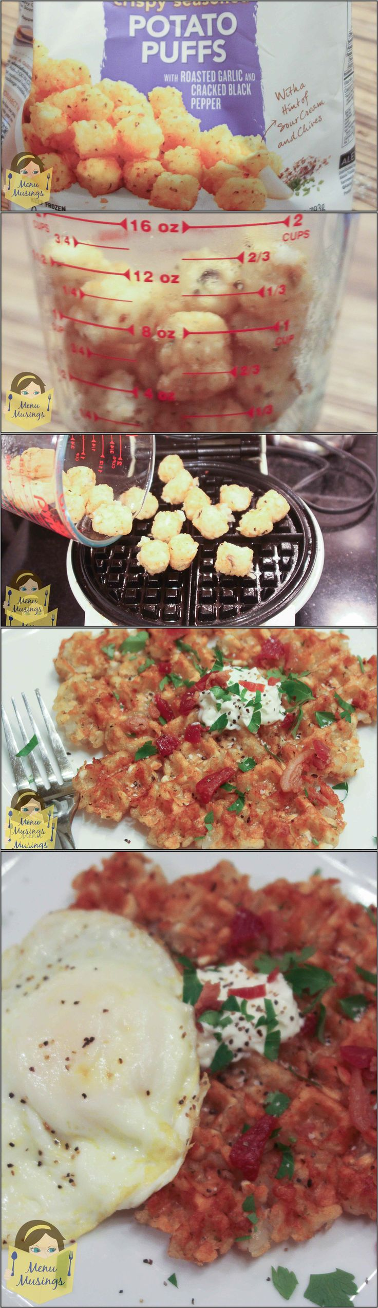 Waffle Iron Tater Tot Hash Browns - you can't get easier than this!  And it's way faster than the oven.  Step-by-step photos.  <3