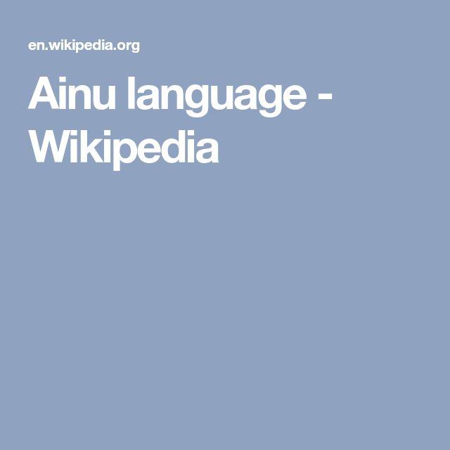 Ainu language - Wikipedia