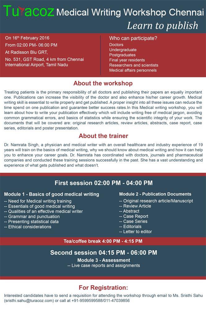 #Turacoz  presents a #MedicalWriting Workshop in #Chennai at Radisson Blu GRT on Feb 16th, Tuesday. Register Now!