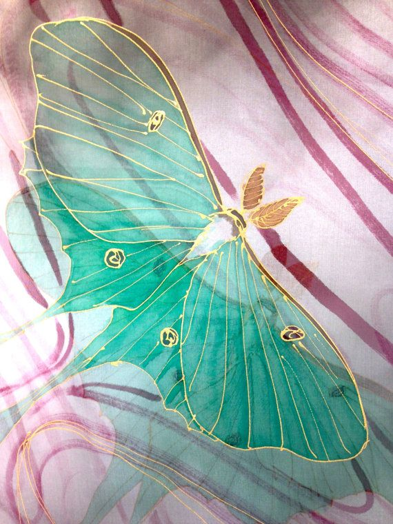 Hand Painted Silk Shawl, Gift for her, Japanese Moon Goddess Scarf, Green Luna Moth, Chiffon Scarf, 22x90 inches. Made to order.