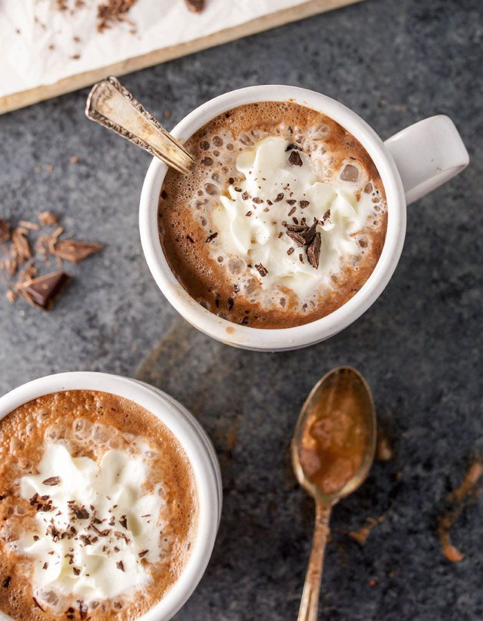HEALTHY DAIRY-FREE HOT CHOCOLATE. This hot chocolate is made with almond milk, raw cacao powder, pure maple syrup, and vanilla for a quick and easy treat that is naturally sweetened, vegan, and paleo friendly. It's the perfect dessert in the evening!