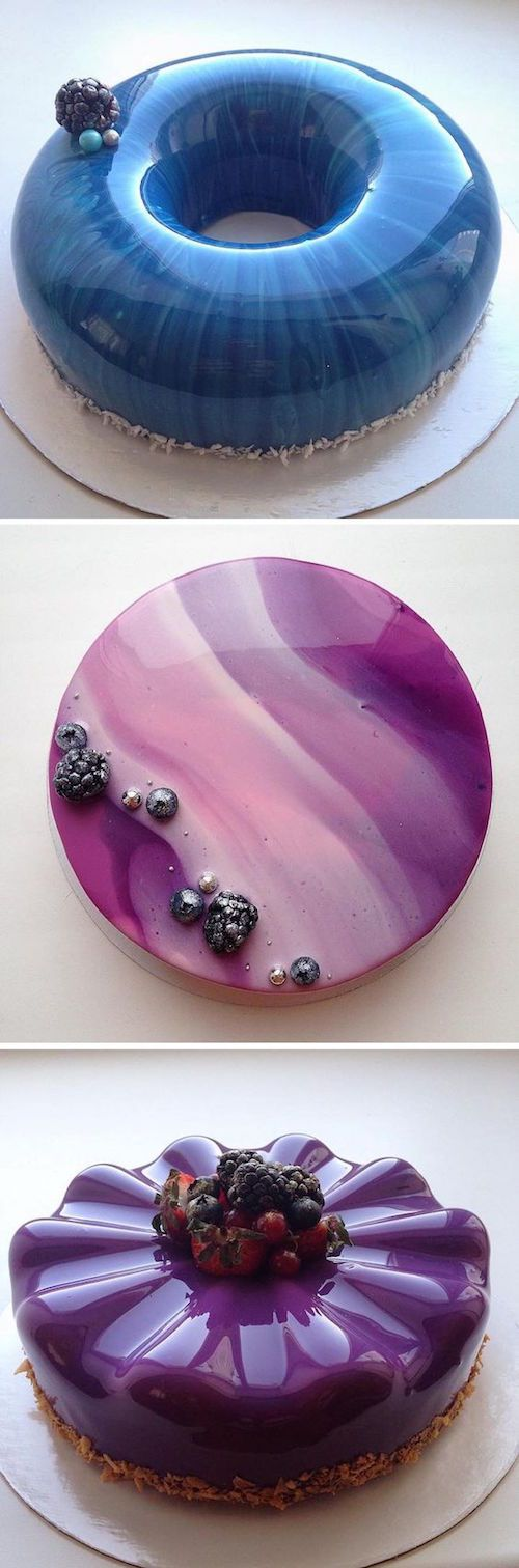 """Forget the frosting or the icing and go for something unique. Olga Noskova creates cakes with a special glaze that makes confectionery surfaces appear flawlessly smooth and glossy. Cake decorating technique """"Mirror Glaze"""""""