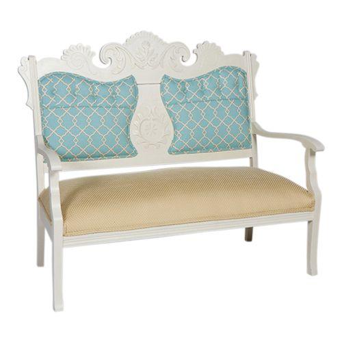 Vintage Settee Blue & White