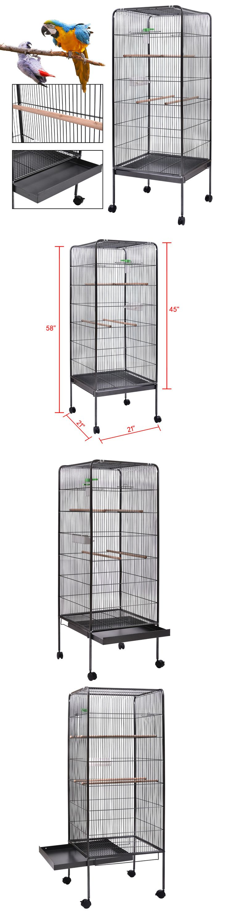 Cages 46289: Flattop Parrot Finch Bird Cage 58 Largeplay Top Pet Supplies W/Perch Stand -> BUY IT NOW ONLY: $57.59 on eBay!
