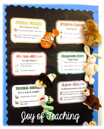 "Our ""Sound it Out Strategy"" Display! So cute with the stuffed animals :)"