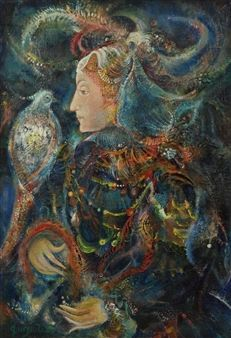 Woman with a Bird By Gayane Khachaturian ,Circa  1980