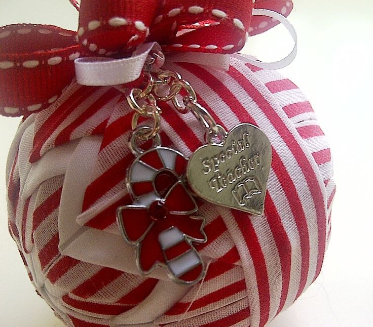 Special Teacher Christmas Gift / Candy Cane quilted Christmas Ornament