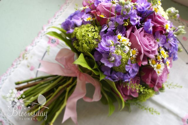 bridesmaid bouquet - cool water rose, viburnum, phlox, stock, chamomile, thlaspi, alchemilla