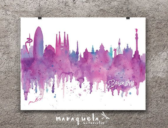 BARCELONA Skyline. Acuarela original ciudad Barcelona España hecho a mano. Ciutat Barna, lámina Barcelona Skyline Catalunya regalo original. BARCELONA Skyline pink and blue hues, watercolor, skyliner Barcelona, Spain, art print, poster Barna gift Bcna  decoration city landscapes