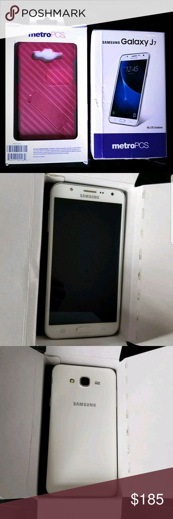 Unlocked Samsung Galaxy J7 phone and case bundle This phone is like new!! Promise.  Had for 1 month only! Selling because received new phone.  No water damage  Not refurbished Bought at metro pcs location! Metro pcs network initially but unlocked to use with any carrier Case is original very reliable $40 from metro pcs store Case has some sign of wear Phone was always protected and never used without case samsung Other