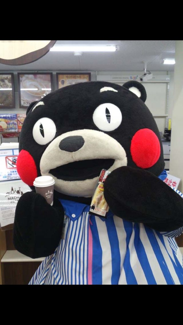 Kumamon getting ready for his break at Lawson's Convenience Store with a coffee and a snack.
