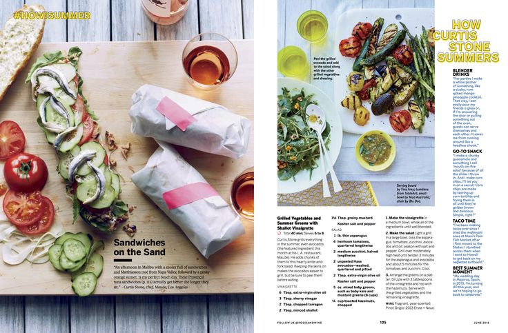 White square serving board from Tina Frey Designs featured in Food & Wine Magazine - June 2015 - Photo credit: Con Poulos