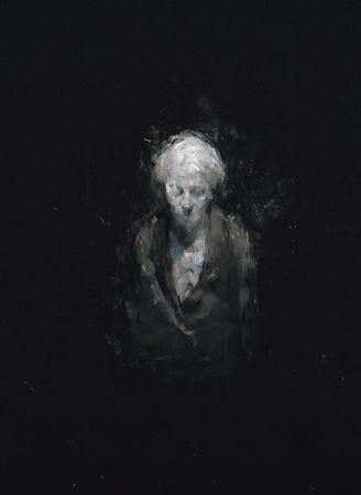 """Sophie Jodoin, Drawing Shadows; portraits of my mother 10, fusain, pastel et acrylique sur papier stonehenge noir / charcoal, pastel and acrylic on black stonehenge paper, 76 x 56 cm / 30 x 22"""""""