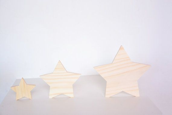 set of 3 thick wooden standing stars, Christmas decor winter bedroom season holiday table window decoupage star DIY unfinished cutout shape