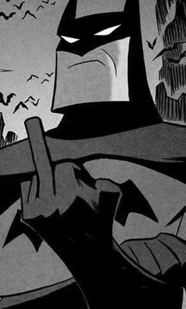 Batman giving middle finger salute