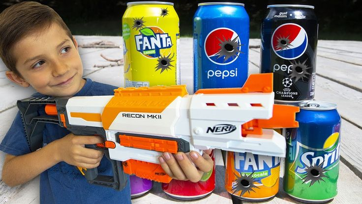 NERF GUN KIDS SHOOTOUT - Exploding Coca Cola Fanta Cans & Learn Colours