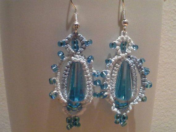 Hand tatted beaded earrings