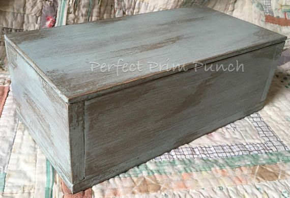 Painted Distressed Antique Style Wooden Box with Lid Birch