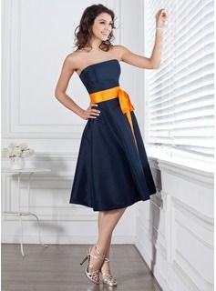 $77.49 - **Add dark navy sash, NOT orange :) A-Line/Princess Strapless Knee-Length Taffeta Bridesmaid Dress With Sash Bow(s) (007004106) - JJsHouse