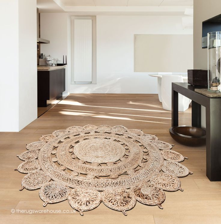 Zira Light Natural Circle Rug, Round Flat Woven Shaped 100% Jute Rug Http