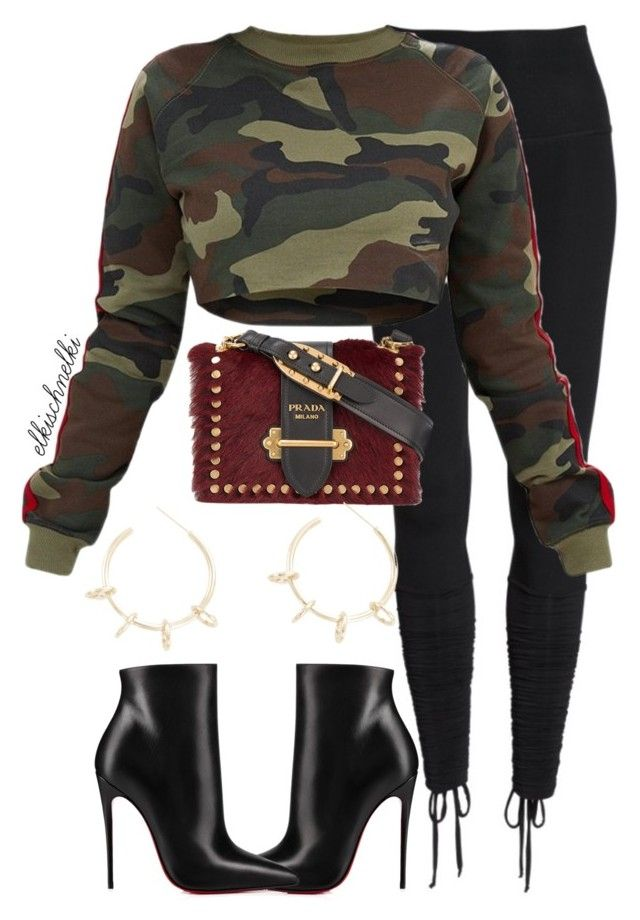 """""""Unbenannt #1259"""" by elkischnelki ❤ liked on Polyvore featuring Beyond Yoga, Christian Louboutin, Prada and Justine Clenquet"""