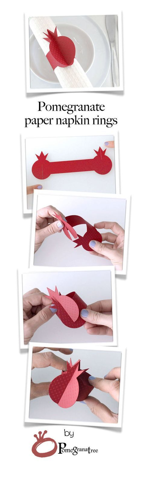 Paper Napkin Rings Red Pomegranate Napkin Rings, Rosh Hashanah Table Decor, Red Napkin Holders, Jewish Holiday Table, Set of 10 Crimson PM05 These Pomegranate shaped napkin rings are cut out of premium paper. These napkin rings are a beautiful added touch for your special occasion and perfect for decorating any holiday table. Napkin rings are sold in sets of TEN. Napkin rings are shipped flat. Easy assembly - no glue or tape needed! Size: Flat: 7.1 / 18cm Assembled ring: approximately 1....