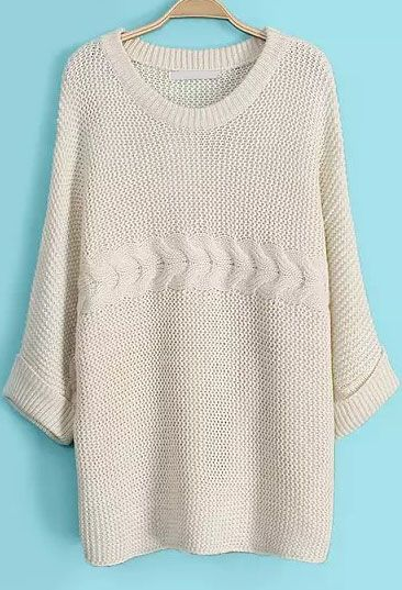 Apricot Batwing Half Sleeve Cable Knit Sweater