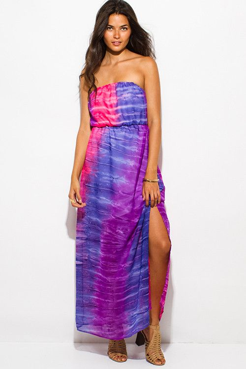 Purple and Pink Tie Dye Print Chiffon Slit Maxi Sun Dress