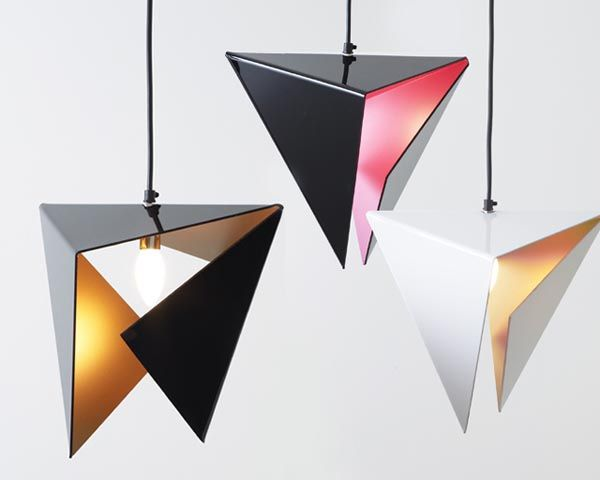 Stealth Pendant Light is made from a single plane of smooth Perspex, and folded into an origami like pyramid. Different colour combinations complement its unique shape: black/copper, black/pink or white/copper.