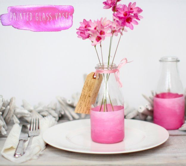 DIY Living Room Decor Ideas - Pink Painted Glass Vases - Cool Modern, Rustic and Creative Home Decor - Coffee Tables, Wall Art, Rugs, Pillows and Chairs. Step by Step Tutorials and Instructions http://diyjoy.com/diy-living-room-decor-ideas