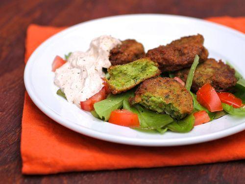 Edamame Falafel with spicy coriander sauce