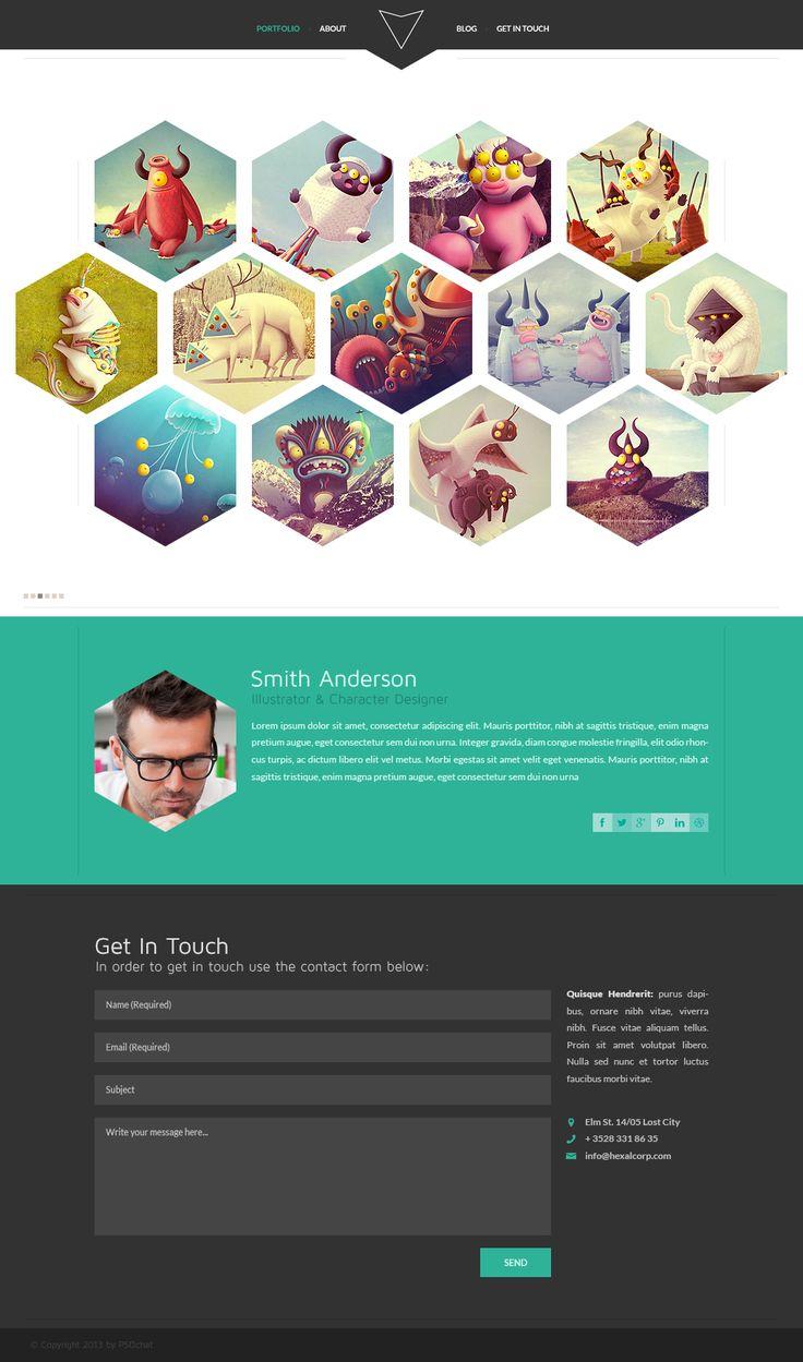 Hexal: Single Page Portfolio Template by PsdChat #webdesign blog