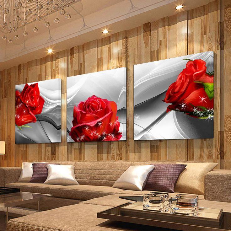 Aucun FramePrint Toile Mur Art Roses Et Chrysanthèmes Décoration Art Peinture À L'huile Modulaire Photos Sur Le Mur 3 pcs FY83