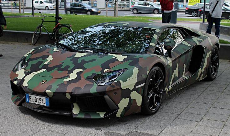 Lamborghini Aventador with Woodland Camouflage