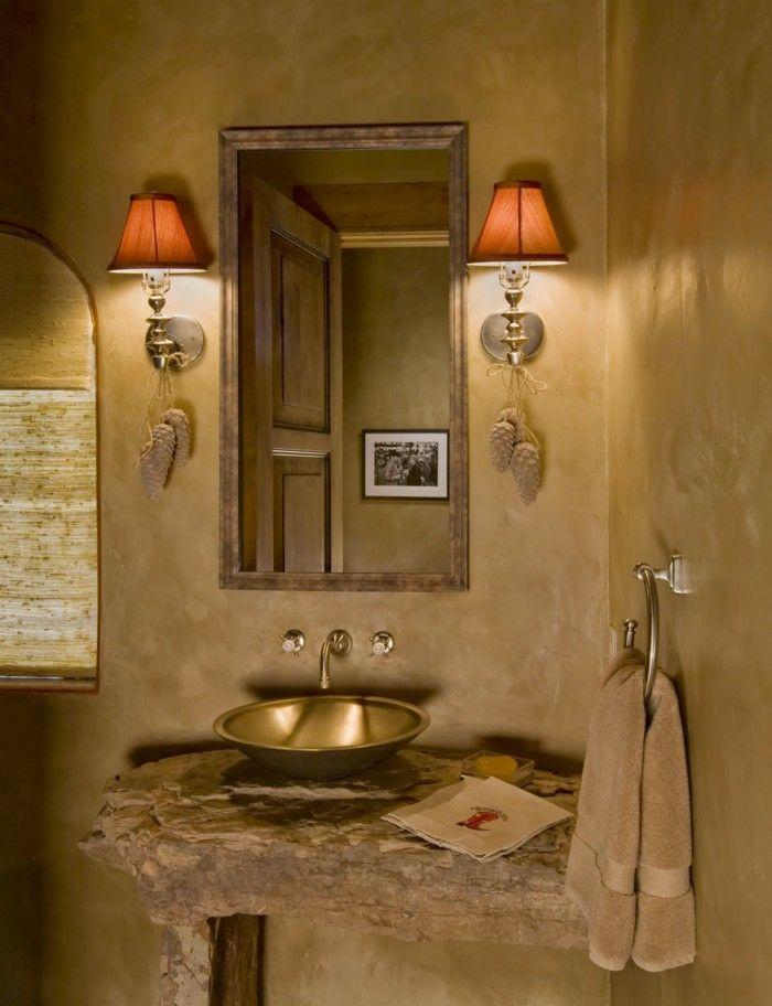 salle-de-bains-peinture-ocre-doré-vasque-laiton-cuivre-meuble-de-lavabo-en-bois-rustique