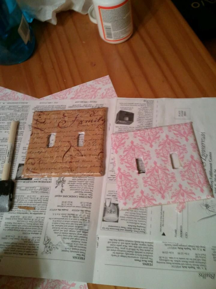 I have made several light switch covers, very cute! Scrap book paper & mod podge gloss sealer