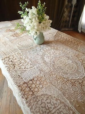 Antique Rustic French Country Normandy Lace Tablecloth 109x75 034 |  Vintageblessings