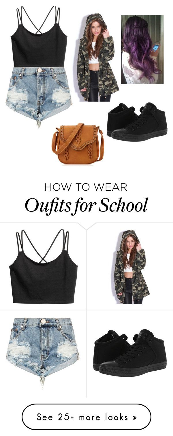 """""""Back to school"""" by gazellex on Polyvore featuring One Teaspoon, Converse and Rock Your Hair"""