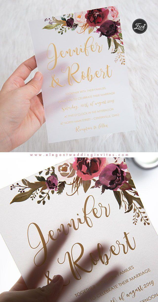 Burgundy Marsala And Blush Floral Uv Printing Wedding Invitation On Vellum P Creative Wedding Invitations Wedding Invitations Boho Printing Wedding Invitations