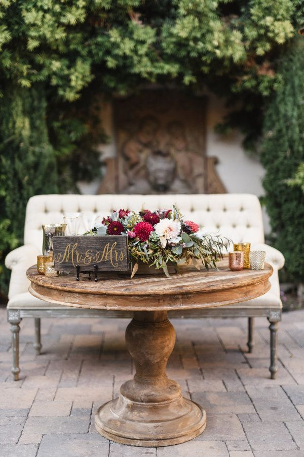 Rustic + romantic sweetheart table: http://www.stylemepretty.com/california-weddings/2016/02/03/rich-romantic-san-juan-capistrano-fall-wedding/   Photography: Jana Williams Photography - http://jana-williams.com/