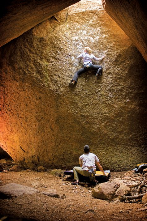 Wichita Mountains Wildlife Refuge, Oklahoma: Emily Harrington makes the first ascent of Eating Stars (V4), Charon's Gardens. The Wichita Mountains are home to bouldering, sport, and trad climbing, from V-easy to 5.scary. Photo by Andrew Chasteen